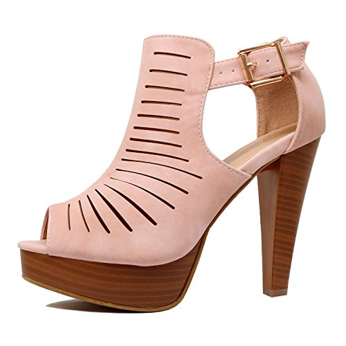 Guilty Shoes Womens Cutout Gladiator Ankle Strap Platform High Block Heel Stiletto Heeled Sandals Mauve Pu