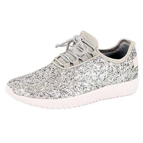 Guilty Shoes Fashion Glitter - Lace up Slip On Wedge Platform Sneaker Boots Silver Glitter