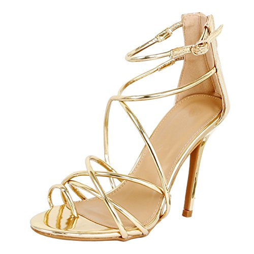 Guilty Heart - Women Sexy Metallic Ankle Strap Zip up Dress - Open Toe Stiletto Sandals Sandals Gold Pu