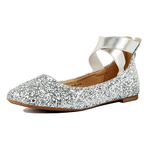 Guilty Shoes Women's Classic Ballerina Flats - Elastic Crossing Straps - Comfort Stretchy Ballet-Flats Silver Glitter