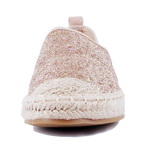 Guilty Heart Womens Slip On Comfort Stretchy Platform Loafer Espadrille Flat Loafers & Slip-ONS Gold Glitter