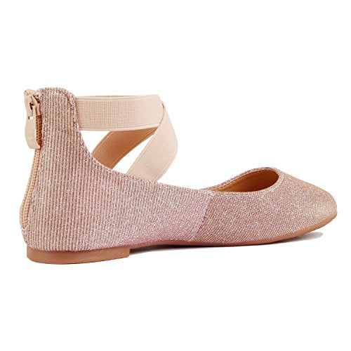 Guilty Shoes Womens Classic Comfort Elastic Crossing Straps - Stretchy Ballerina Ballet Flats Shoes Pink Mesh