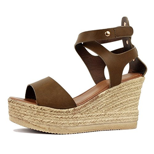 Guilty Heart Womens Casual Comfortable Braided Bottom Platofrm Open Toe Summer Wedge Sandal Platforms & Wedges Mocha PU