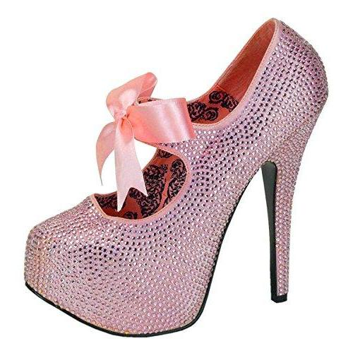 Womens May Janes Rhinestone Pumps 5 3/4 Inch Heels Multiple Colors Size: 8 Colors: BabyPink