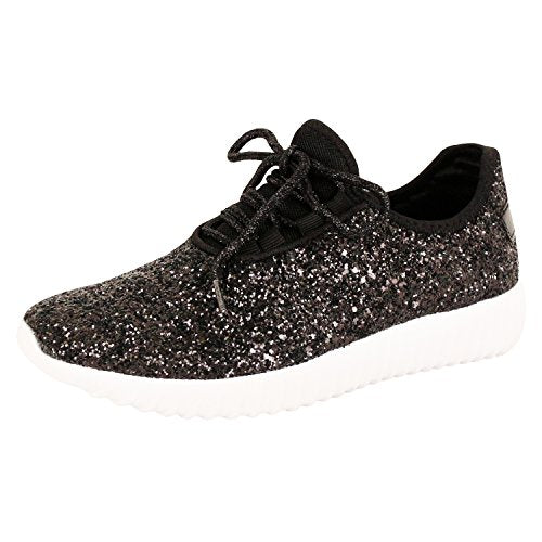 Guilty Shoes Fashion Glitter - Lace up Slip On Wedge Platform Sneaker Boots Black Glitter