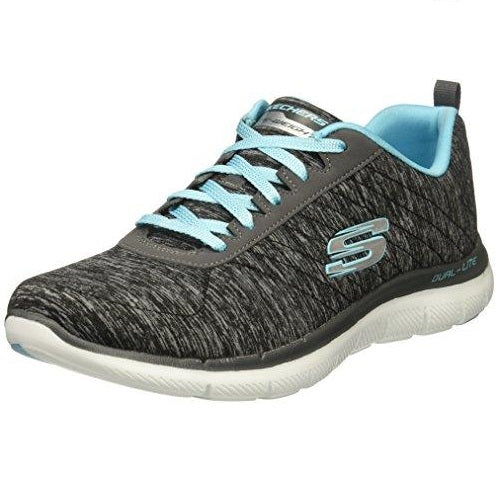 Skechers Women's Flex Appeal 2.0 Fashion Sneaker Black Light Blue