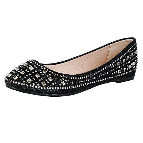 Guilty Heart Princess Classic Slip On Ballerina Ballet Flats Flats Black Square