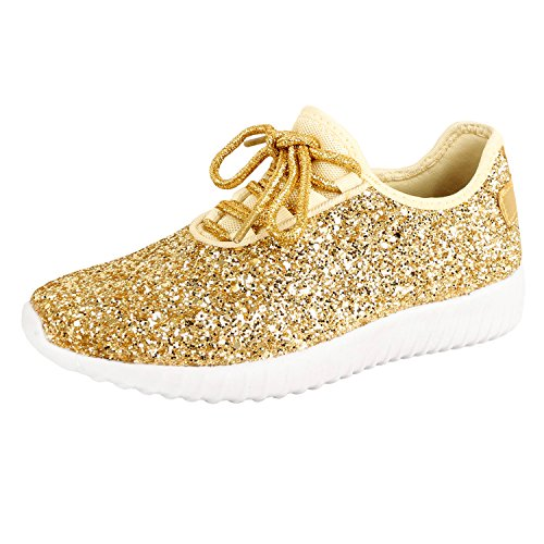 Guilty Shoes Womens Fashion Glitter Metallic Lace up Sparkle Slip On - Wedge Platform Sneaker Gold Glitter