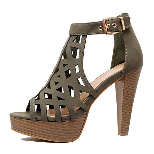 Guilty Shoes Womens Cutout Gladiator