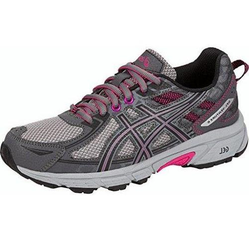 ASICS Women's Gel-Venture 6 Running-Shoes Carbon Black Pink Peacock