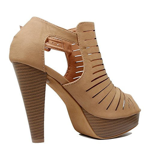 Guilty Shoes Cutout Gladiator Ankle Strap Platform Fashion Heeled Sandals Tan Pu