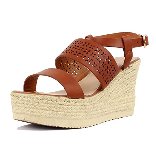 Guilty Heart Womens Casual Comfortable Braided Bottom Platofrm Open Toe Summer Wedge Sandal Platforms & Wedges Tan PU