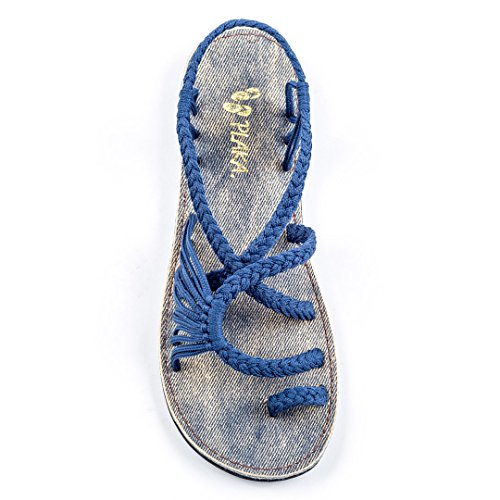 Plaka Flat Summer Sandals for Women by Saphire Blue Palm Leaf