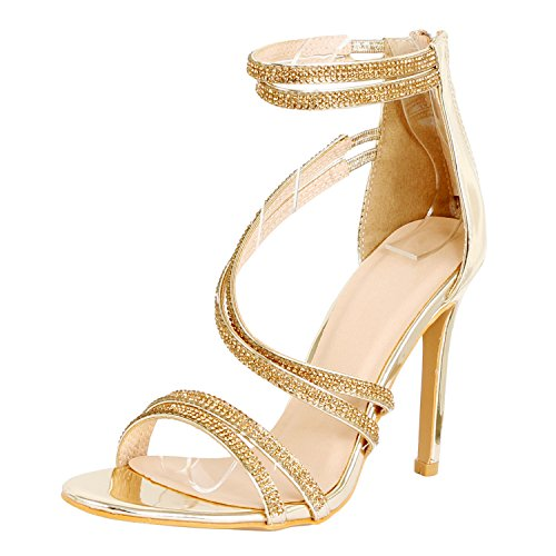 Guilty Shoes Women Sexy Metallic Ankle Strap Zip up Dress - Open Toe Stiletto Sandals Sandals Gold Pu