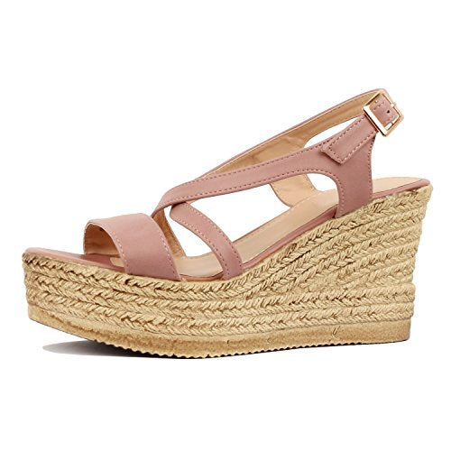 Guilty Heart Womens Casual Comfortable Braided Bottom Platofrm Open Toe Summer Wedge Sandal Platforms & Wedges Mauve PU