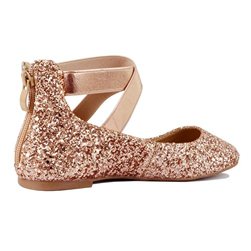 Guilty Shoes Women's Classic Ballerina Flats - Elastic Crossing Straps - Comfort Stretchy Ballet-Flats Cham Glitter