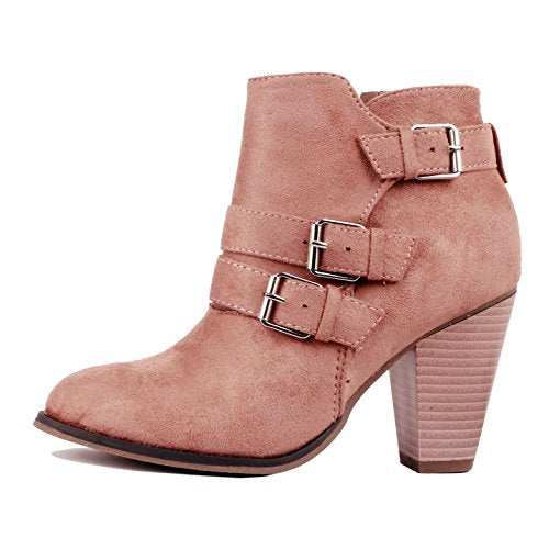 Guilty Heart Womens Strappy Buckle Bootie - Chunky Block Heel Ankle Boots Pink