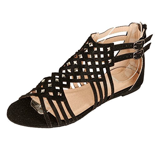 Guilty Heart Womens Summer Strappy Gladiator Bead Bohemian Flat Sandals Sandals, Black, 6 B(M) US