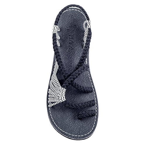 Plaka Flat Summer Sandals for Women by Black Zebra Palm Leaf