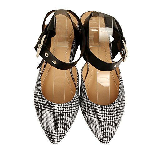 Guilty Heart Women Bow Knotted Flat Mule - Pointy Toe Slip On Slide Mules & Clogs Black White Pu