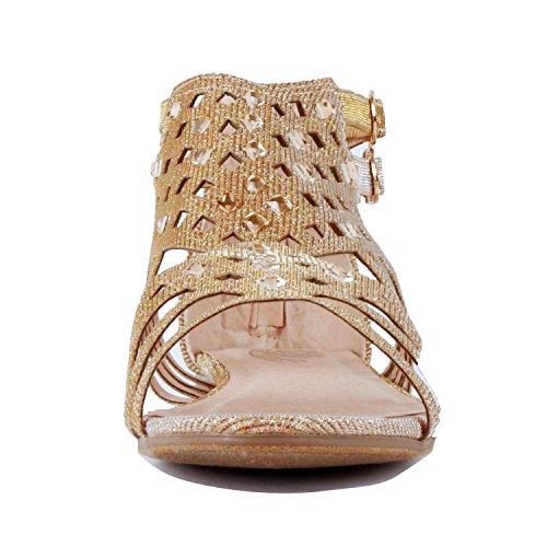 Guilty Heart Womens Summer Strappy Gladiator Bead Bohemian Flat Sandals Sandals Gold