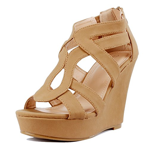Guilty Shoes Womens Gladiator Strappy Open Toe Comfort Platform Wedge Sandals Tan Pu