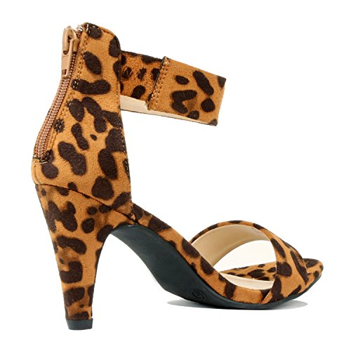 Guilty Shoes Womens Classic Comfort Sexy Open Toe Ankle Strap Dress Stiletto Kitten Heel Sandals Sandals Leopard Suede