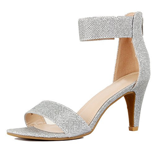 Guilty Shoes Womens Classic Comfort Sexy Open Toe Ankle Strap Dress Stiletto Kitten Heel Sandals Sandals Silver Metallic