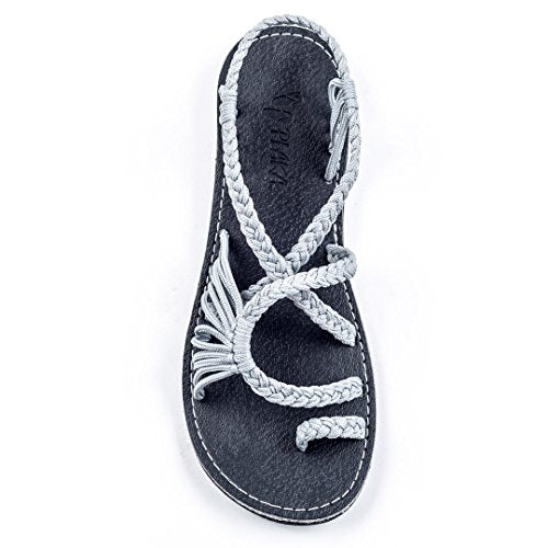 Plaka Flat Summer Sandals for Women by Urban Gray Size Palm Leaf