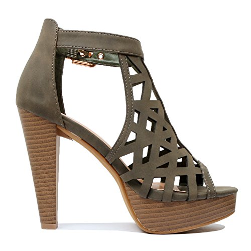 Guilty Shoes Womens Cutout Gladiator Ankle Strap Platform Fashion High Heel Sandals Heeled Sandals Olive Green Pu