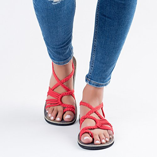 Plaka Flat Summer Sandals for Women by Red Palm Leaf