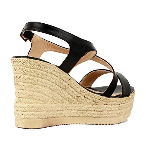 Guilty Heart Womens Casual Comfortable Braided Bottom Platofrm Open Toe Summer Wedge Sandal Platforms & Wedges Black PU