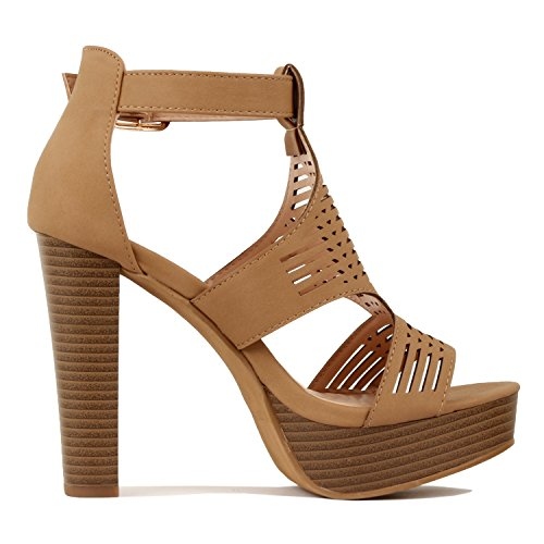 Guilty Shoes Womens Cutout Gladiator Ankle Strap Platform High Block Heel Stiletto Heeled Sandals Tan Pu