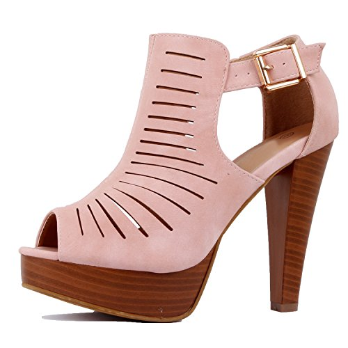 Guilty Shoes Womens Cutout Gladiator Ankle Strap Platform High Block Heel Stiletto Heeled Sandals Mauve Pink Pu