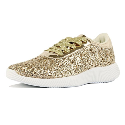Guilty Shoes Womens Fashion Glitter Metallic Lace up Sparkle Slip On - Wedge Platform Sneaker Fashion Sneakers Gold Glitter