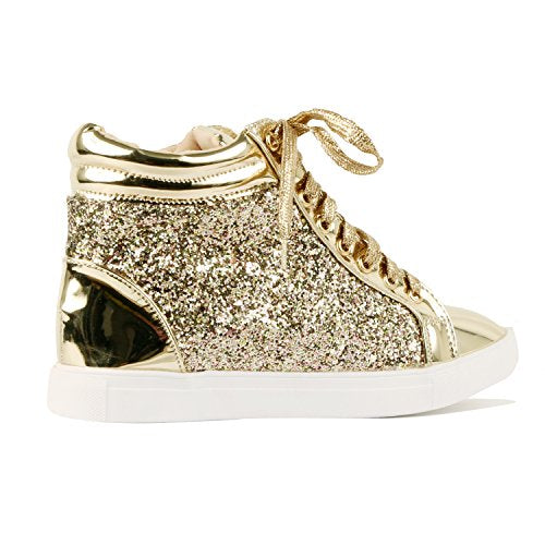 Guilty Shoes Womens Fashion Glitter Metallic Lace up Sparkle Slip On - Wedge Platform Sneaker Fashion Sneakers … Fashion Sneakers Gold Glitter