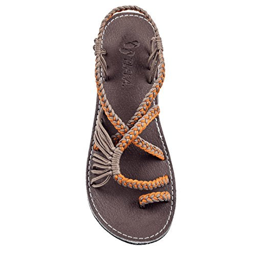 Plaka Flat Summer Sandals for Women by Orange Gray Palm Leaf