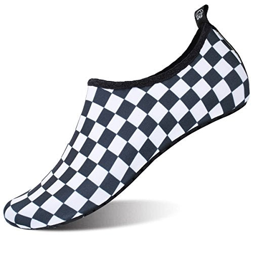 Womens Athletic Water Skin Shoes Aqua Socks for Pool Park Black Plaid US