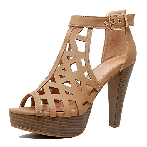 Guilty Shoes Womens Cutout Gladiator Ankle Strap Platform Fashion High Heel Sandals Heeled Sandals Tan Pu