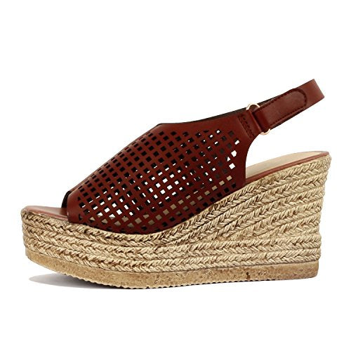 Guilty Heart Womens Casual Comfortable Braided Bottom Platofrm Open Toe Summer Wedge Sandal Platforms & Wedges Dark Brown PU