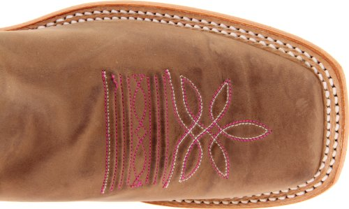 "Justin Boots Women's U.S.A. Bent Rail Collection 13"" Boot Wide Square Double Stitch Toe Leather Outsole,Tan Vintage Cow/Dark Pink Classic"