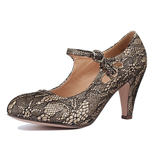 Guilty Heart Womens Retro Round Toe Ankle Strap Low Kitten Heel Mary Jane Dress Pump Gold Lace
