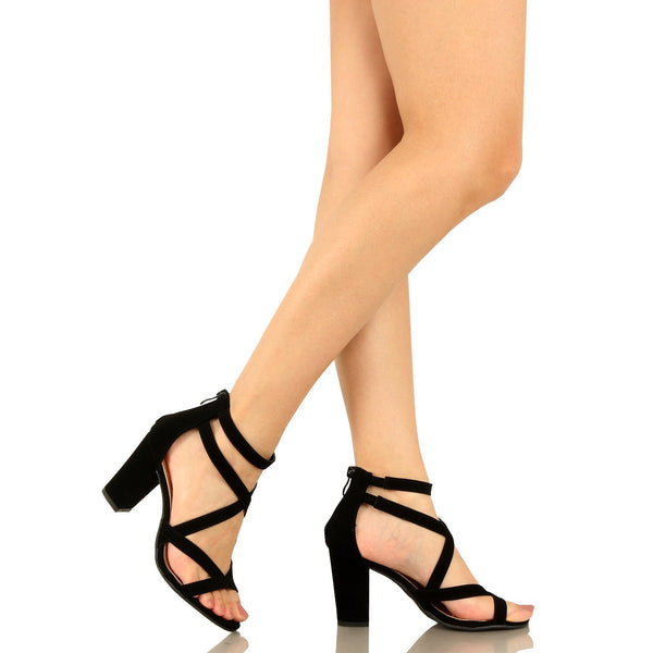 Guilty Heart Womens Sexy Versatile Strappy Platform Stiletto Block Heel Ankle Strap