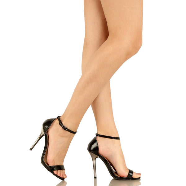 Guilty Heart Womens Sexy Slim Ankle Strap Stiletto High Heel Dress