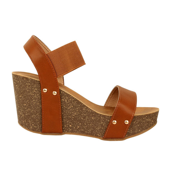 Guilty Heart Womens Cork Comfort Casual Wide Band Sandal Platforms & Wedges