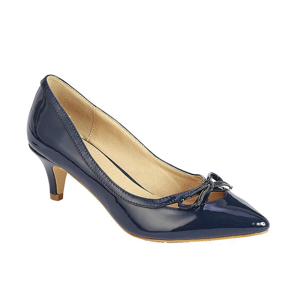 Women's Fashion Patent Low Heel Pumps Navy Bow