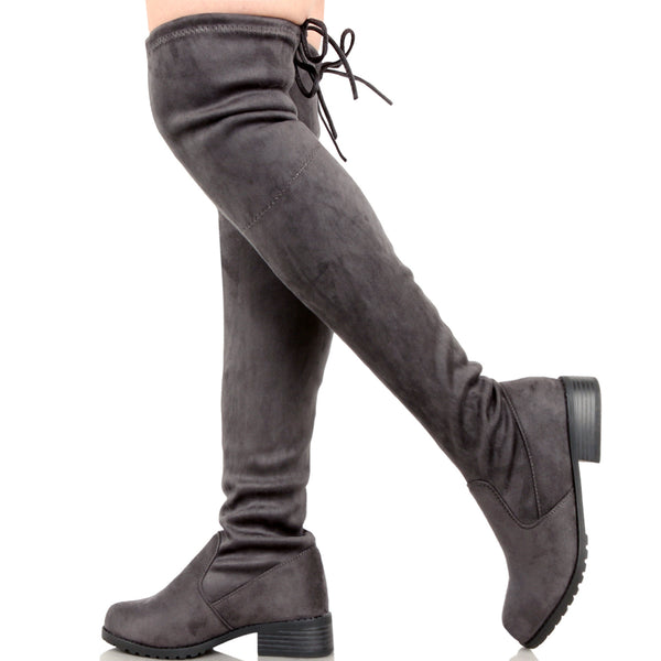 Guilty Heart - Womens Comfortable Pull up Low Block Heel Closed Toe Boots