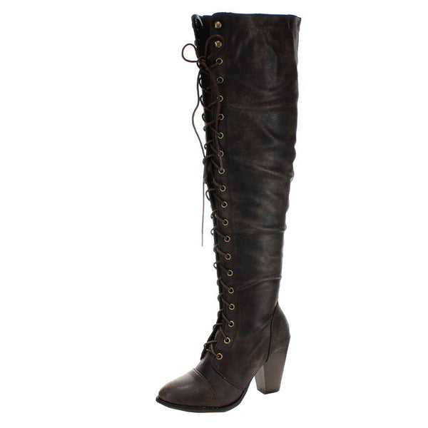 Camila-48 Lace Up Oxford Thigh High Over The Knee Boots