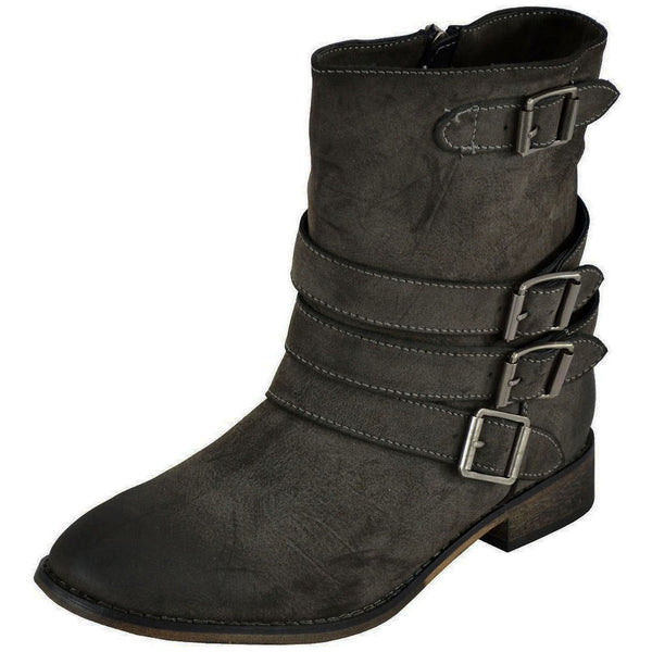 Clayton-11 Moto Biker Buckles Ankle Boots