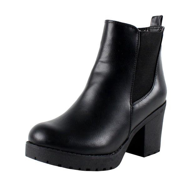 Club-1 Chelsea Chunky High Heel Ankle Boots